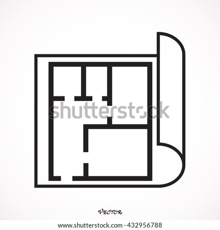 House plan icon floor plan vector stock vector 586377626 for Construction drawing apps