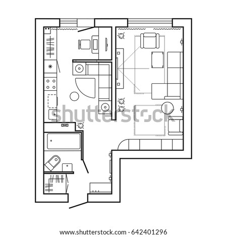 Architecture Plan With Furniture House Floor Kitchen Lounge And Bathroom Thin View Preview