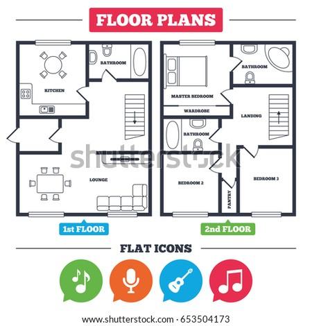 floor plan furniture symbols bedroom.  Floor Architecture Plan With Furniture House Floor Plan Music Icons Microphone  Karaoke Symbol And Floor Plan Furniture Symbols Bedroom