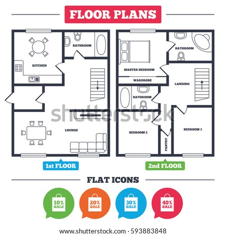 floor plan with furniture. architecture plan with furniture house floor sale bag tag icons discount special