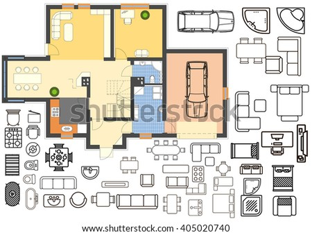 Architecture plan with furniture in top view  - stock vector