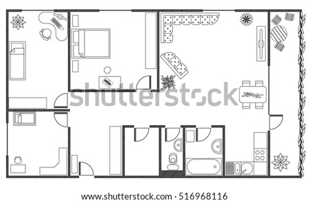Architecture Plan With Furniture In Top View Of 4 Rooms Apartment Balcony And Storeroom