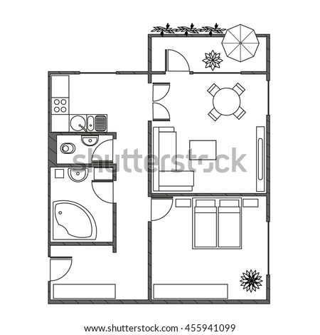 Architecture Plan With Furniture In Top View Of 2 Rooms Apartment Balcony Modern