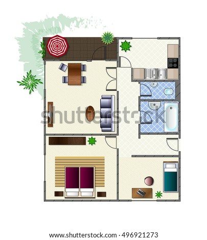 Architecture Plan With Furniture In Top View Of 3 Rooms Apartment Terrace Modern