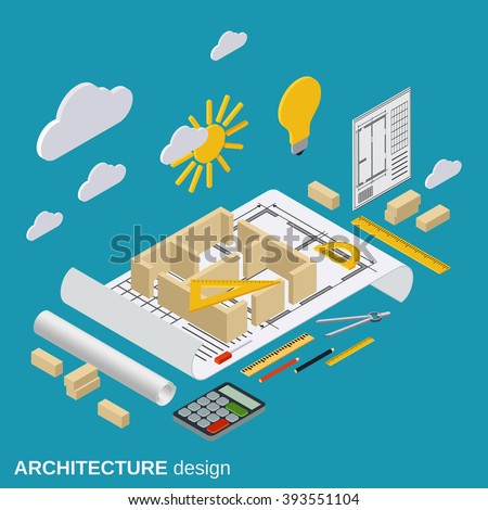Architecture planning, interior project, architect workplace, computer design flat 3d isometric illustration. Modern web graphic concept - stock vector