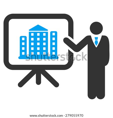 Architecture presentation icon from Business Bi color Set. This isolated flat symbol uses modern corporation light blue and gray colors. - stock vector