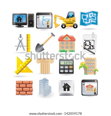 architecture set - stock vector