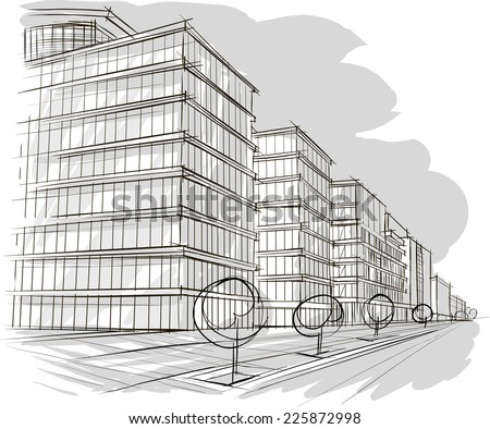 Architecture sketch - stock vector