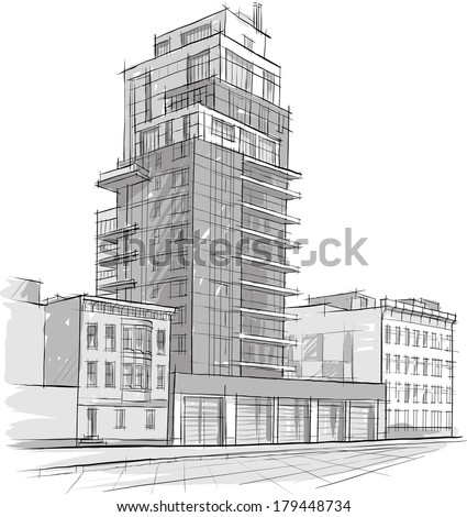 Architect Buildings Sketches architecture sketch drawing buildingcity stock vector 179448743