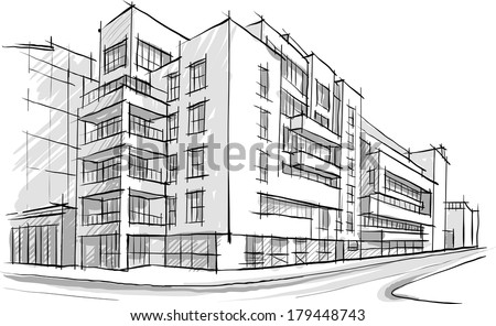 Architecture Sketch Drawing Of BuildingCity