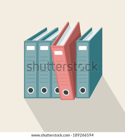 Archive Folders. One red folder drawn out of a row of green folders. All objects are separated and grouped in different layers - stock vector