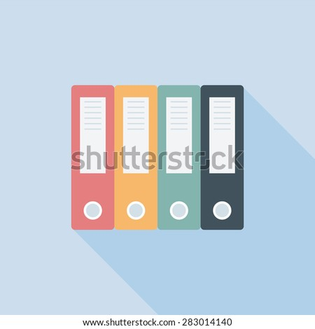 Archive folders vector icon with long shade, EPS10 vector illustration  - stock vector