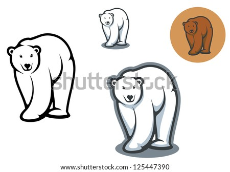 Arctic and brown bear mascots isolated on white background, such as idea of logo. Jpeg version also available in gallery - stock vector