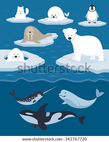 Arctic Animals Character and Background, Winter, Nature Travel and Wildlife - stock vector