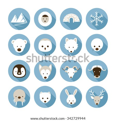Arctic Animals Flat Icons Set, Winter, Nature Travel and Wildlife - stock vector