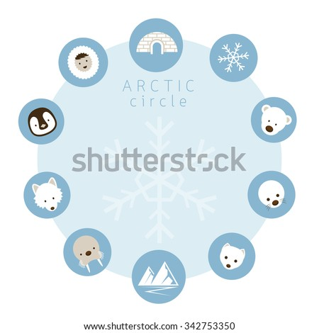 Arctic Animals, People, Icons Circle Frame, Winter, Nature Travel and Wildlife - stock vector