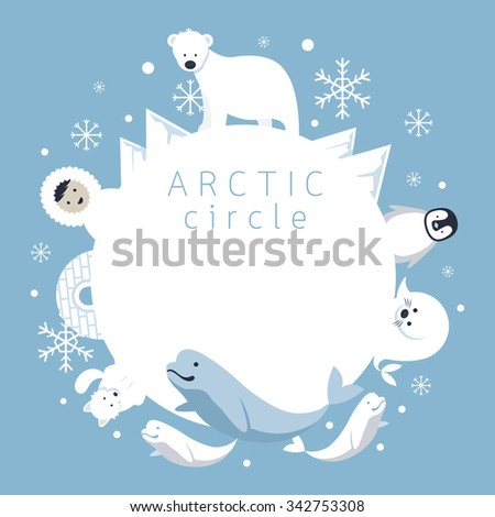 Arctic Circle Frame, Animals, People, Winter, Nature Travel and Wildlife - stock vector