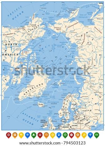 Arctic Ocean Political Map Flat Map Stock Vector 794503123