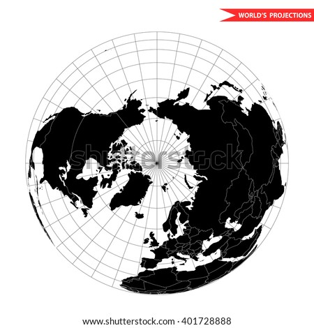 Arctic pole globe hemisphere. World view from space icon. - stock vector