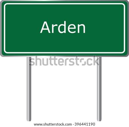 Arden , Delaware , road sign green vector illustration, road table, USA city - stock vector