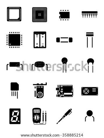 Arduino Chip Electronics Component Icon Set 02 - stock vector
