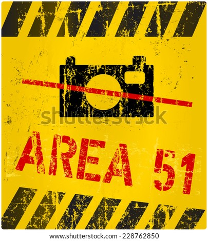 area fifty one sign, grungy style, vector illustration - stock vector
