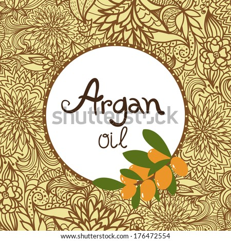 Argan oil label and element. Oriental ornament. - stock vector