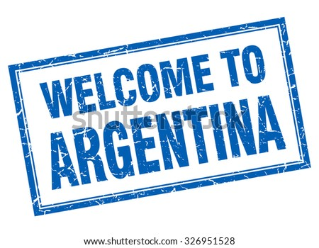 Argentina blue square grunge welcome isolated stamp - stock vector
