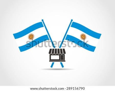 Argentina Emblem Crossed Flags Store - stock vector