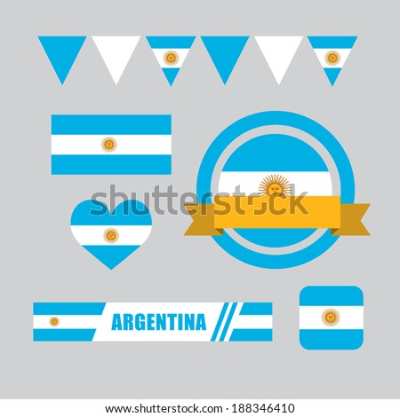 Argentina flag, banner and icon patterns set illustration - stock vector