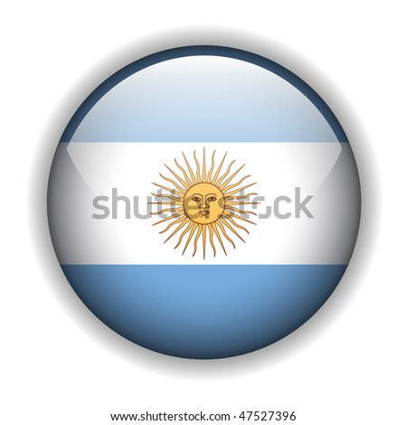 Argentina flag, glossy button, vector