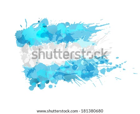 Argentina  flag made of colorful splashes - stock vector