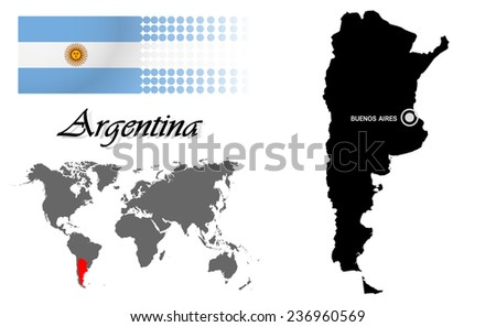 Argentina info graphic flag location world stock vector 236960569 argentina info graphic with flag location in world map map and the capital gumiabroncs Images