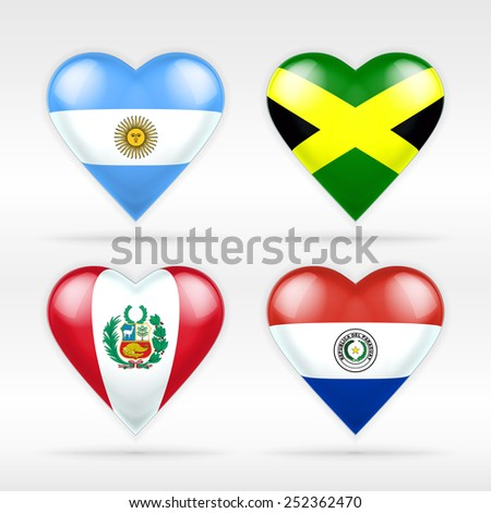 Argentina, Jamaica, Peru and Paraguay heart flag set of American states as collection of isolated vector state flags icon elements on white - stock vector