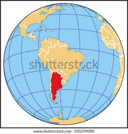 Globe Map Centered On South America Stock Vector - Argentina globe map