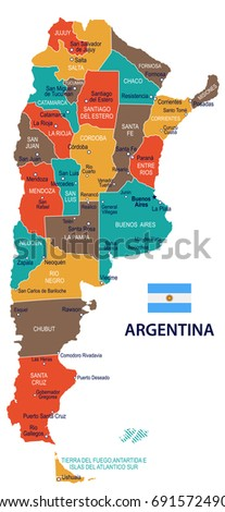 Argentina Map Flag Vector Illustration Stock Vector - Map argentina