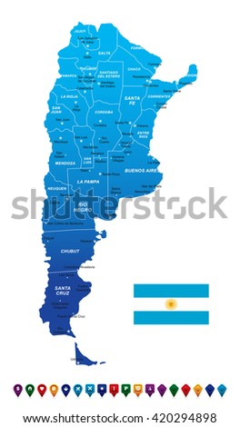 Argentina Map vector illustration - stock vector