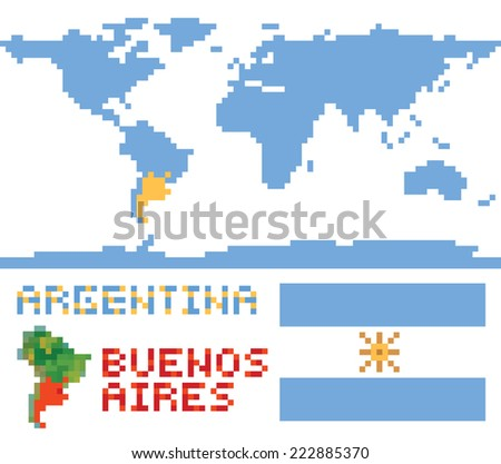 Argentina on world map, border shape flag and capital buenos aires isolated on white - stock vector