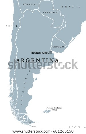 Argentina Political Map Capital Buenos Aires Stock Vector HD