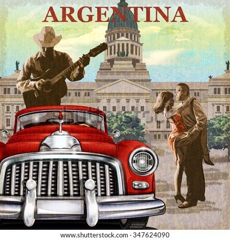 Argentina  retro poster. - stock vector