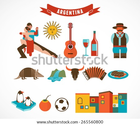 Argentina - set of icons and illustrations - stock vector