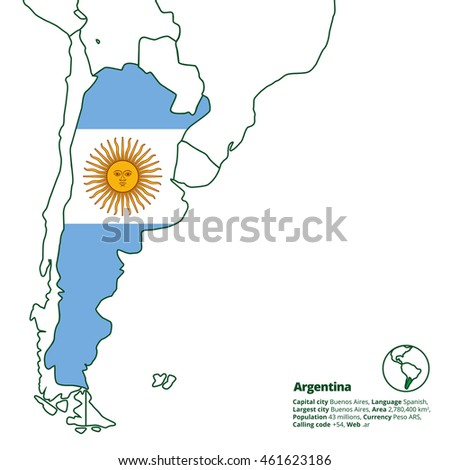 Argentina silhouette national flag other latin stock vector hd argentina silhouette with national flag and other latin america countries in outline world map series gumiabroncs Choice Image
