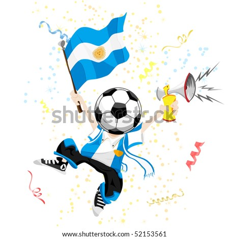 Argentina Soccer Fan with Ball Head. Editable Vector Illustration