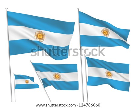 Argentina vector flags. A set of 5 wavy 3D flags created using gradient meshes. - stock vector