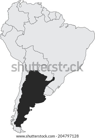 Argentina vector map with borders of South America, isolated on white background. - stock vector