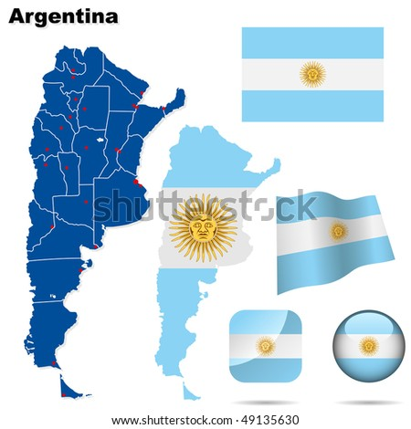 Argentina vector set. Detailed country shape with region borders, flags and icons isolated on white background. - stock vector