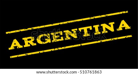Argentina watermark stamp. Text caption between parallel lines with grunge design style. Rubber seal stamp with dust texture. Vector yellow color ink imprint on a blue background.