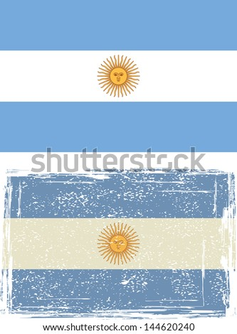 Argentine grunge flag. Vector illustration. - stock vector