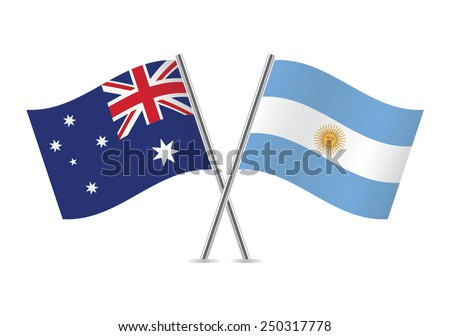 Argentinian and Australian flags. Vector illustration.