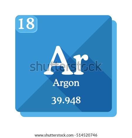 Argon Ar Element Periodic Table Flat Stock Vector 514520746